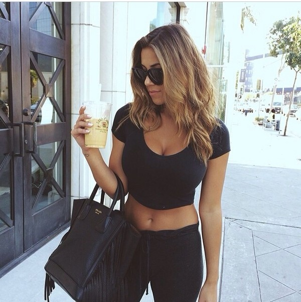 shirt cropped top crop tops black short short sleeve sunglasses black pants joggers sweatpants pants bag summer t-shirt total black black fringe leather chic