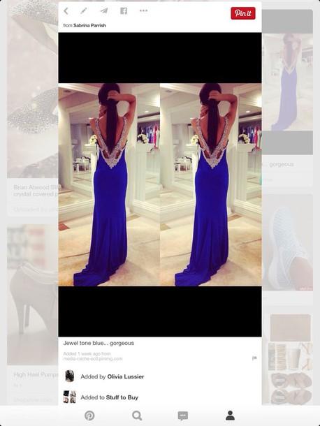 dress blue dress prom dress gems