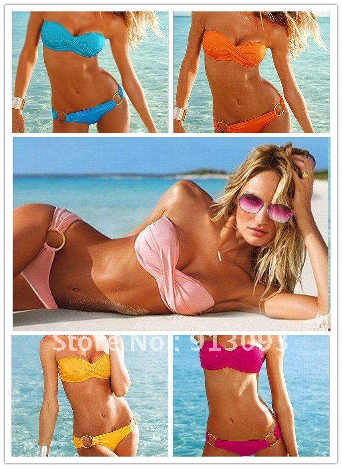 Fashion Brand woman Sexy bikini with PAD Hot swimsuits Ladies Padded  Bra Low Rise swimwear beachwear 6 colors T5-in One Pieces from Apparel & Accessories on Aliexpress.com
