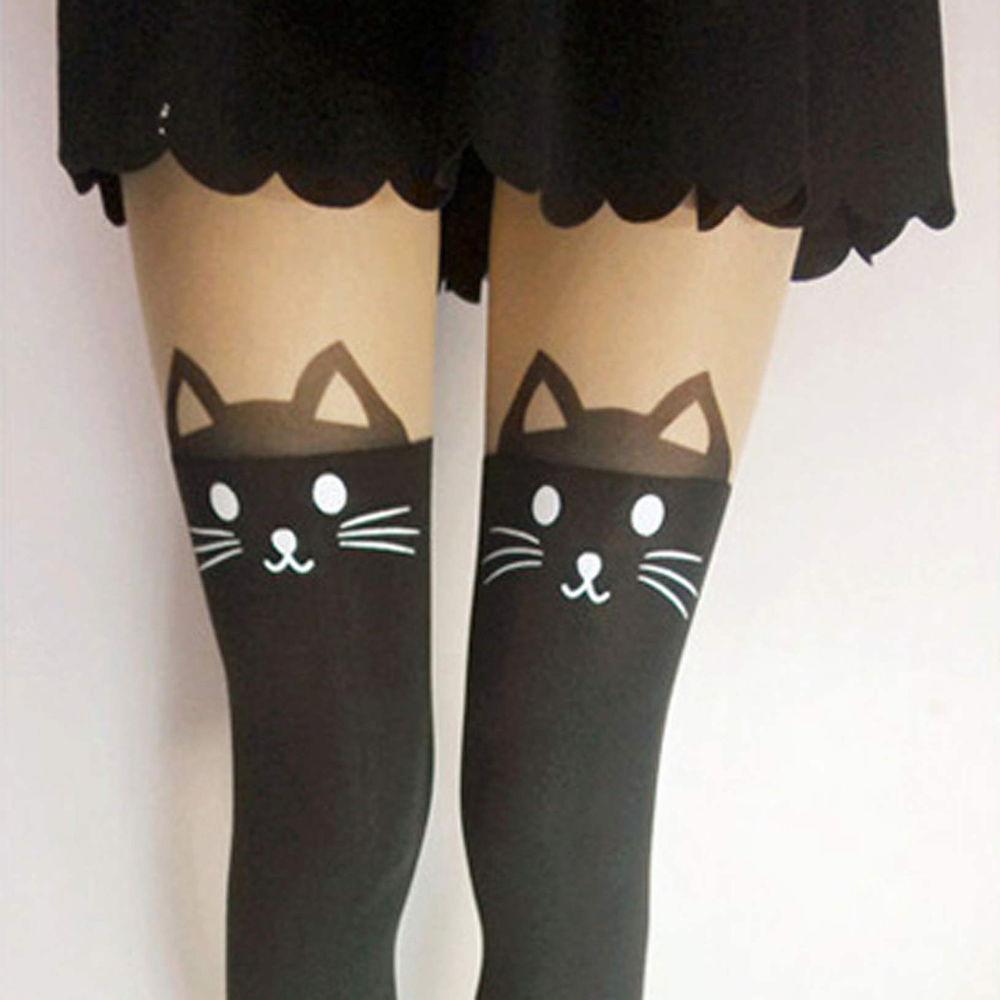 Cat Bunny Bear Dual Color Tattoo Tail Stockings Knee Pantyhose Legging Tights HM   eBay