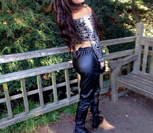 pants black leather joggers