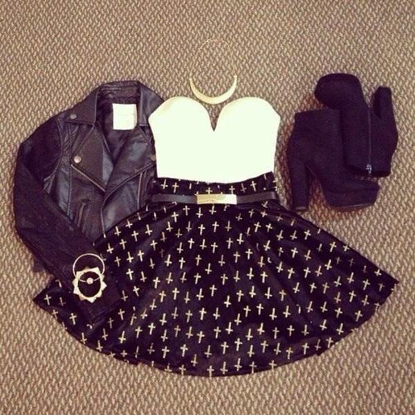 jacket tank top belt skirt shoes