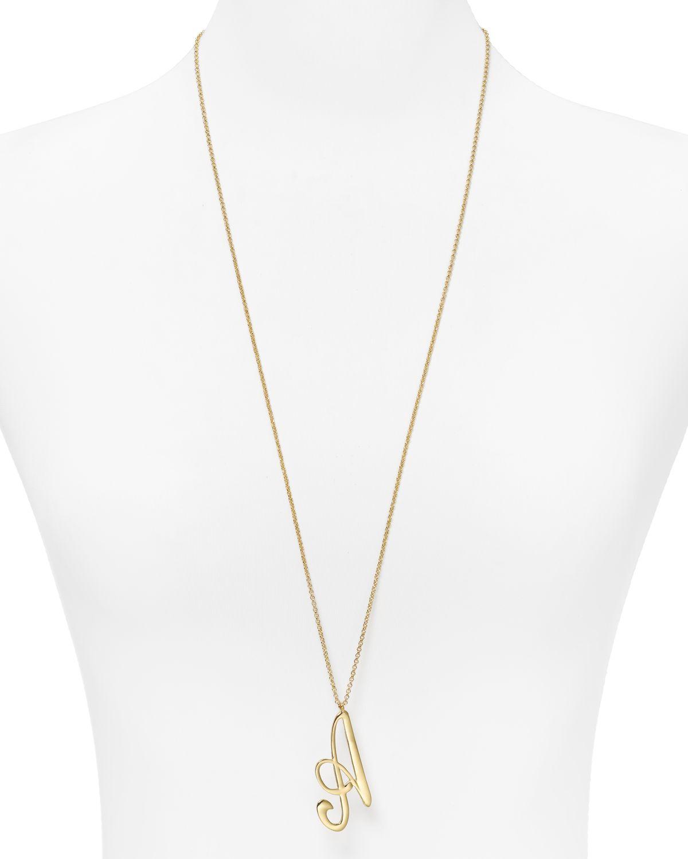 """Aqua Jumbo Initial Pendant Necklace, 31""""   Bloomingdale's"""