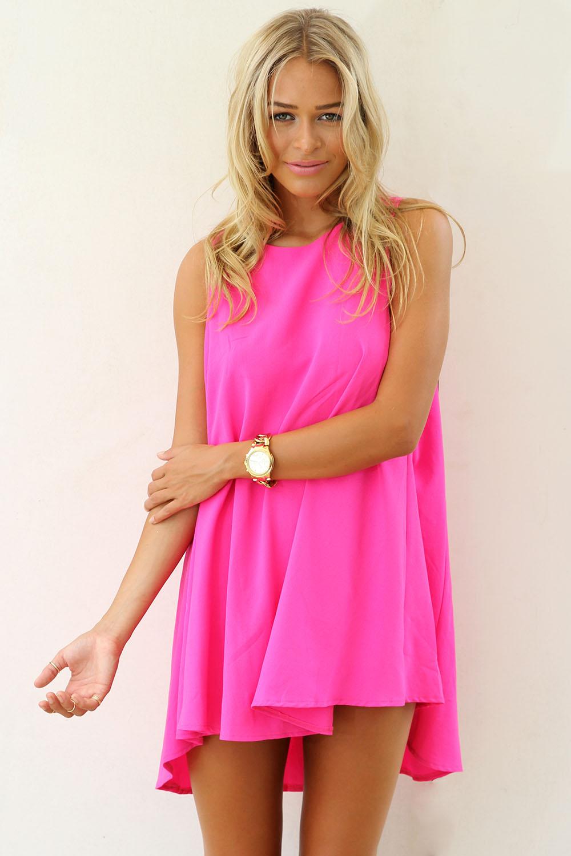 Pink Mini Dress - Pink Sleeveless A-Line Dress with   UsTrendy