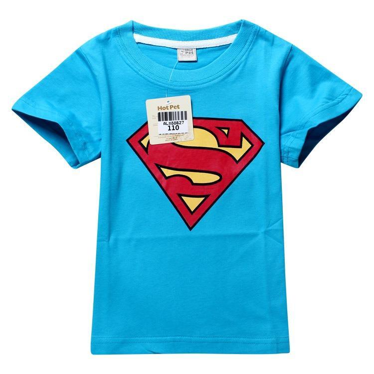 Toddler Boys Superman Kids Short Slevee Cotton Top Blue T Shirt 2 8 | eBay