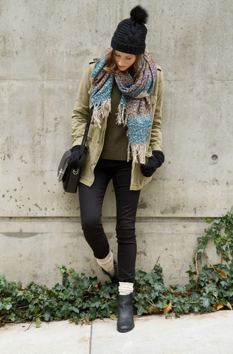 styling my life blogger coat khaki pom pom beanie winter outfits leg warmers black jeans satchel bag sweater jeans shoes bag hat jewels