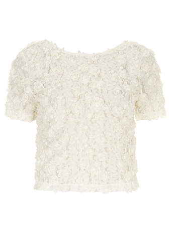 All About Rose Ivory 3D Effect Rose Crop Top - View All Tops - Tops & T-Shirts - Clothing- Dorothy Perkins