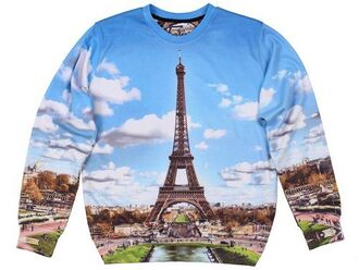 sweater fusion clothing paris print print sky clouds paris eiffel tower printed sweater sweatshirt crewneck blue