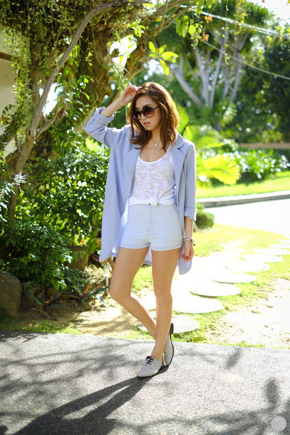 kryzuy blogger jacket shorts light blue shoes sunglasses jewels