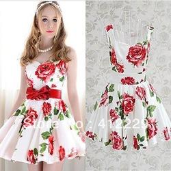 2013 roten rose print weiß exklusiven schlank ballkleid elegante ärmellose Knie  länge abend Club partei