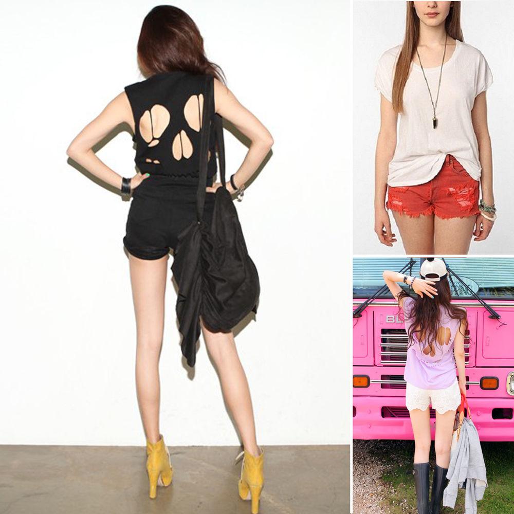 Sexy Womens Girl Cut Out Back Skull Tops Sleeveless T Shirt Chiffon Vest Tops   eBay