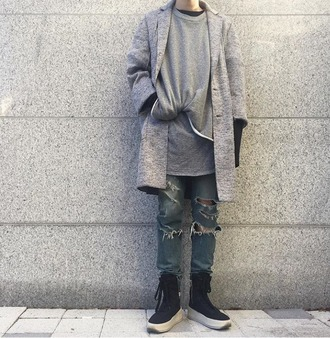 coat spring coat streetstyle streetwear street goth menswear grey grey coat urabn spring outfits long coat