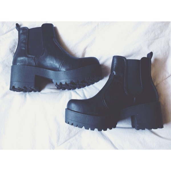 shoes black boots cleated sole pull on
