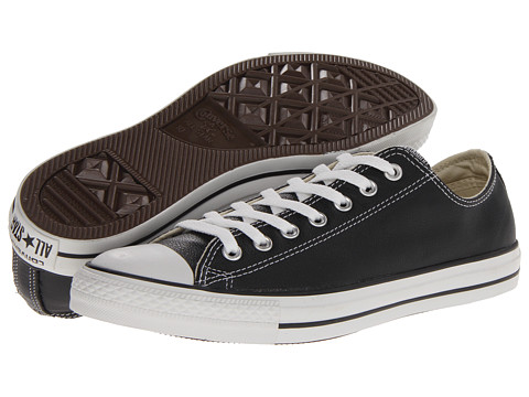 Converse Chuck Taylor® All Star® Leather Ox Black/White Leather - Zappos.com Free Shipping BOTH Ways