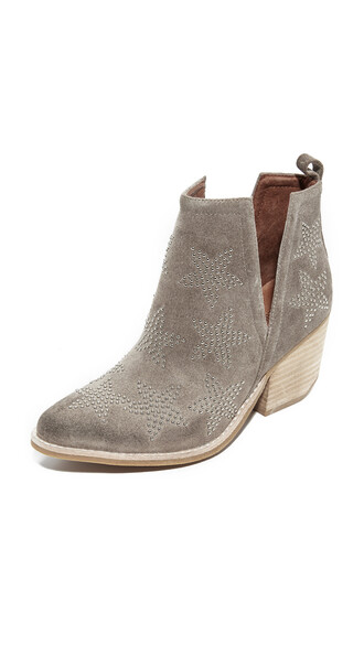 embellished booties silver taupe shoes