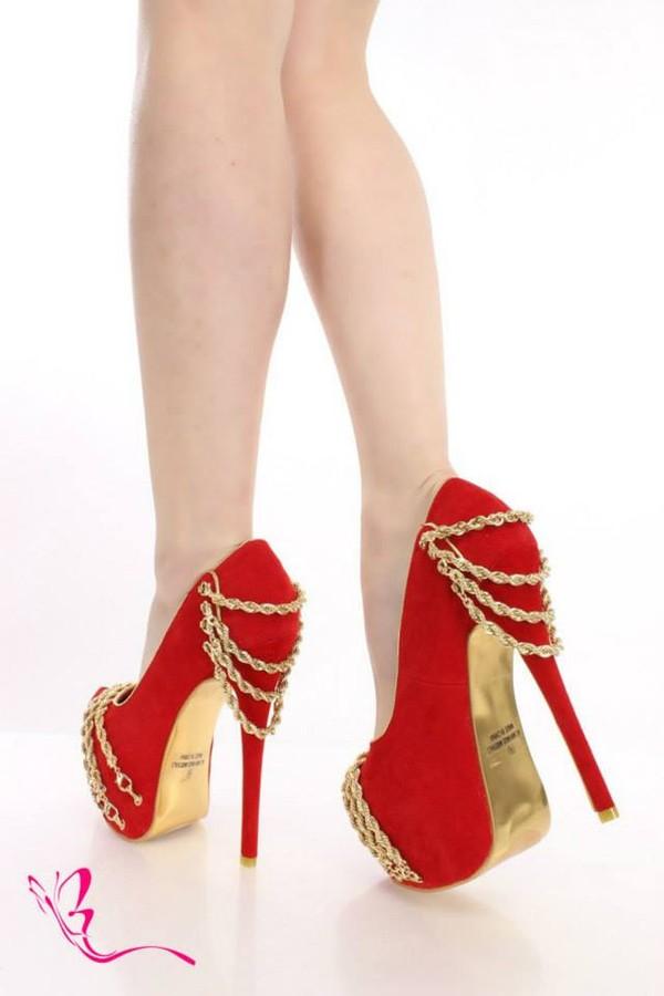 Red And Gold Platform Heels - Qu Heel