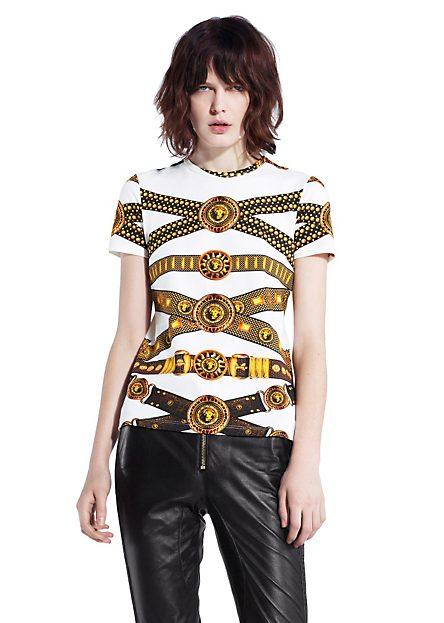VERSUS VERSACE | ICONIC BELT PRINT TEE | Tops & Tees | Women | Shop at us.versace.com - Official Online Store