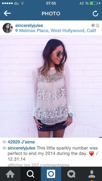 blouse sincerely jules sequins nude blogger