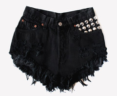 450 Black Frayed Studded Shorts   RUNWAYDREAMZ