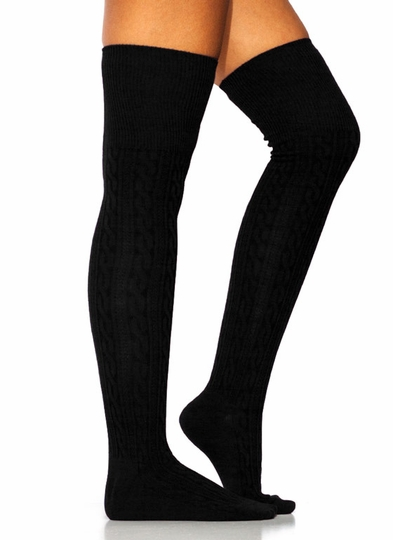 Cable-Knit-Thigh-High-Socks BLACK BURGUNDY CHARCOAL NAVY - GoJane.com