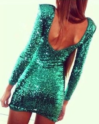 dress turquoise green sea green sequins