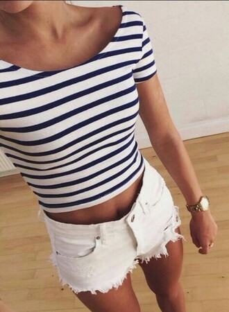 shirt crop tops blue and white stipped blue and white striped top cute summer girly hipster hot spring like it striped shirt shorts