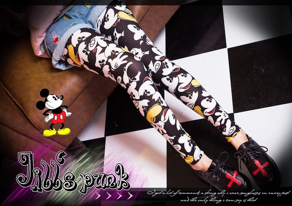 american street lolita cartoon fantasy mickey mouse pantomime legging tights | eBay