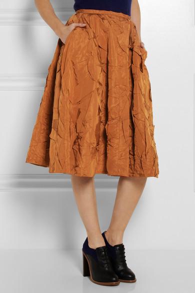 Rochas|Crinkled silk-taffeta midi skirt|NET-A-PORTER.COM
