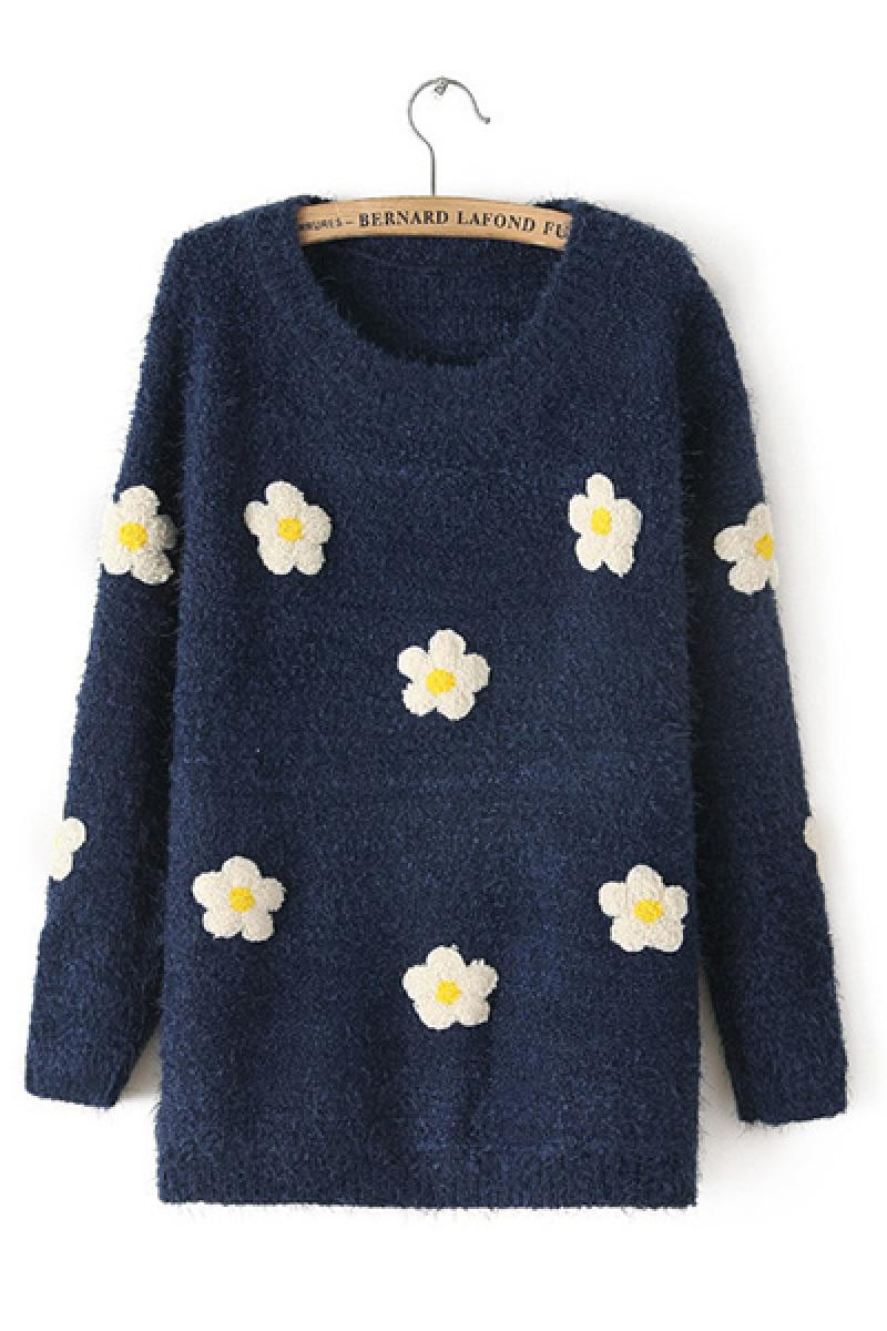Autumn & Winter New Section Thickening Floral Sweater,Cheap in Wendybox.com