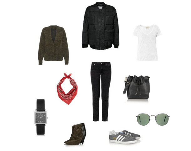 clochet blogger jacket sweater t-shirt sunglasses scarf jeans bag jewels