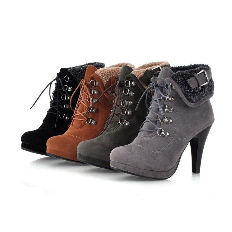 Women's High Stiletto Pumps Ankle Fur Lining Boots Lace Up Buckle Platform Shoes | eBay