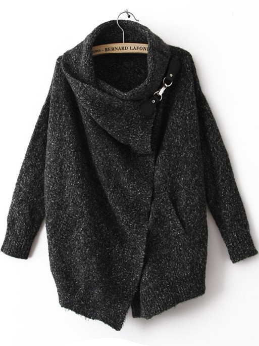 Black Lapel Long Sleeve Ouch Cardigan Sweater - Sheinside.com