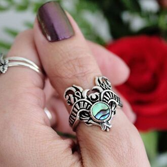 jewels shop dixi abalone sterling silver ring boho bohemian grunge goth