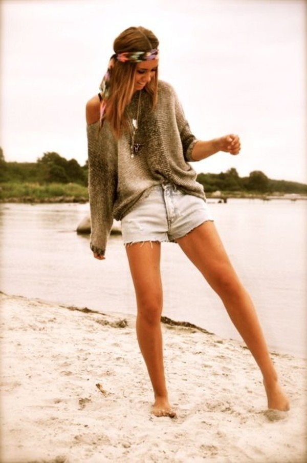 knitted sweater hippie denim shorts bandana oversized sweater boho beach taupe off the shoulder sweater silver necklace