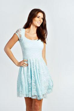 Caroline Cap Sleeve Lace Skater Dress at boohoo.com
