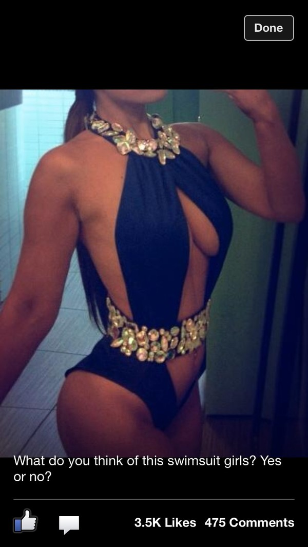 swimwear diamond swimwear navy embellished plunge neckline swimwear monokini bikini