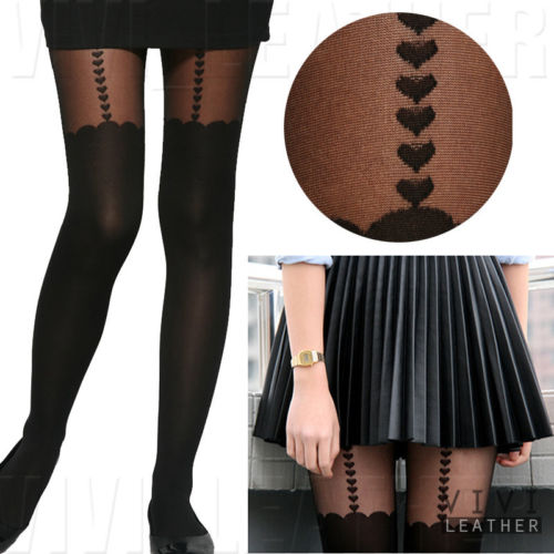 New Sexy Thigh High Stockings Hold UPS Tattoo Heart Suspender Sheer Tights | eBay