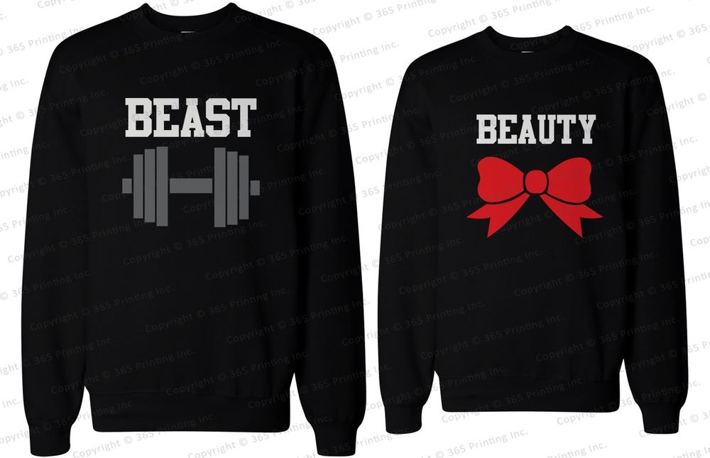 His and Her Matching Couple Sweatshirts Beauty and The Beast | eBay