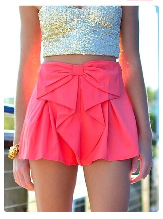 top sequins bow pink silver sequins crop tops high waisted skirt shorts