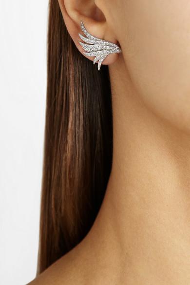 Ana Khouri|Wing 18-karat white gold diamond earrings|NET-A-PORTER.COM