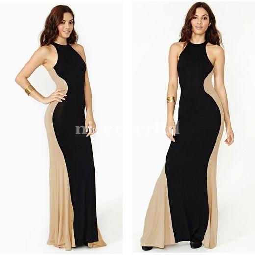 Women Cocktail Party Contrast Color Block Bodycon Maxi Long Dress E639 | eBay