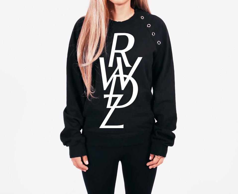 Black RWDZ Logo Studded Fleece Sweatshirt | RUNWAYDREAMZ