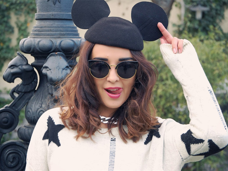 Mickey Ears Wool Beret Hat   Choies