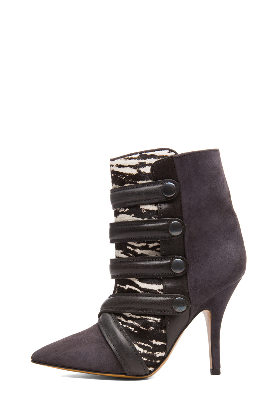 Isabel Marant|Tacy Goat Suede Leather Pony Booties in Anthracite