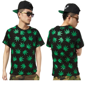 New Fashion Brand Casual Black green tee short sleeve t shirt  skateboard pilot leaf Print o neck Top-inT-Shirts from Apparel & Accessories on Aliexpress.com