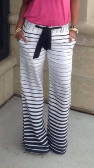 pants black and white striped pants printed pants black white stripes navy lounge pants loose stripped sweatpants navy and white pants