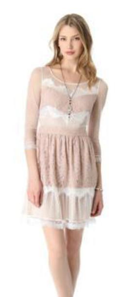 dress nude white dress long sleeve dress