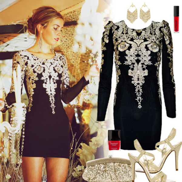 dress baroque bodycon black black and gold new year's eve new year's eve little black dress