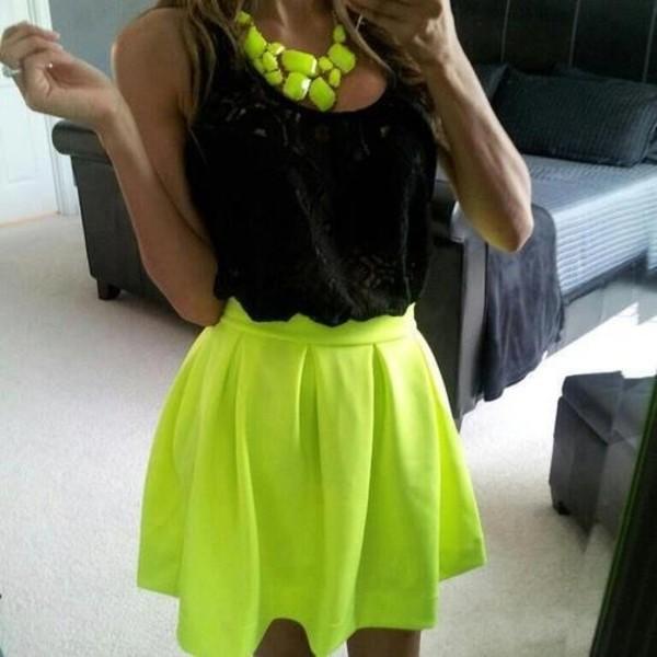 skirt clothes fluorescent yellow t-shirt accessories