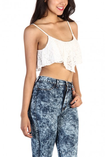 LoveMelrose.com From Harry & Molly | FLORAL LACE RUFFLE CROP TOP - White